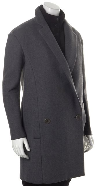 TIBI Charcoal Gray Basic Double Breasted Two Pocket Coat