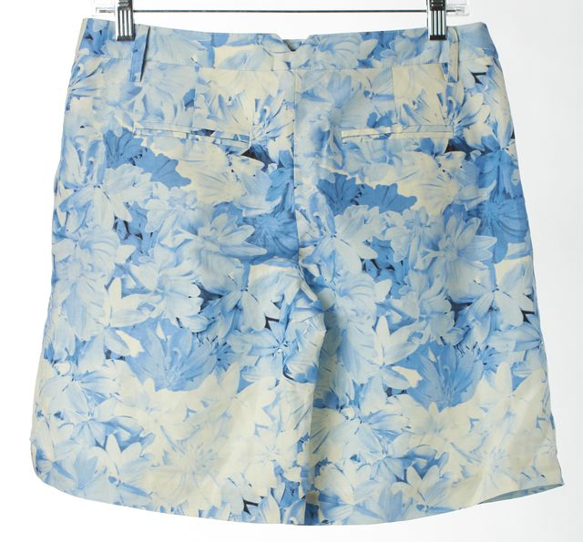 TIBI Blue White Floral Silk Linen Blend Pleated Casual Shorts