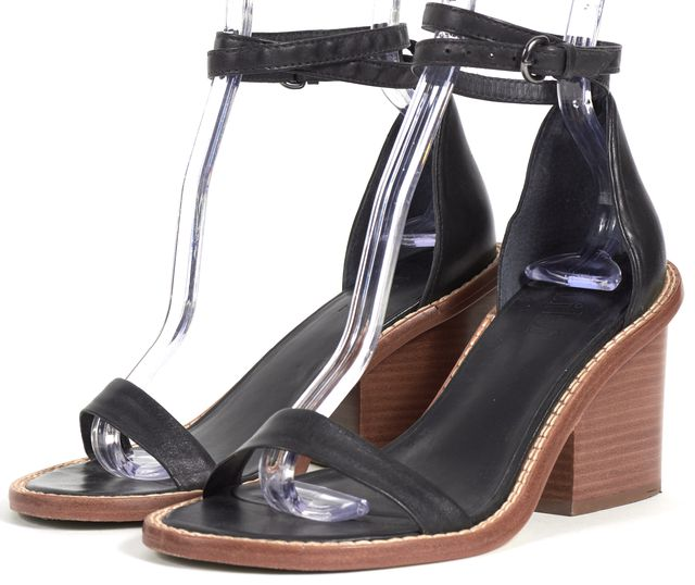 TIBI Black Leather Ankle Strap Wooden Stacked Sandal Heels