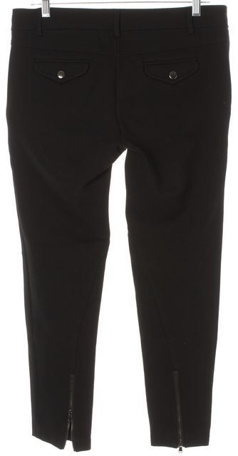 TIBI Black Cropped Ankle Zip Stretch Trouser Dress Pants