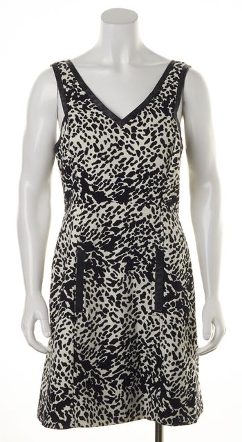 TIBI Black White Abstract Fit & Flare Sleeveless One Pocket Dress