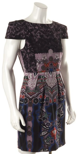 TIBI Black Purple Geometric Sheath Dress