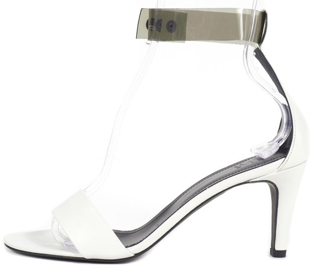 TIBI White Leather PVC Ankle Strap Sandal Heels