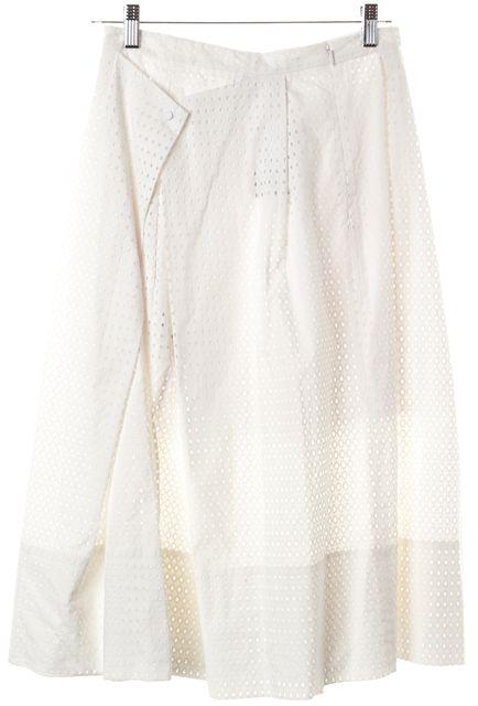 TIBI White Perforated A-Line Skirt