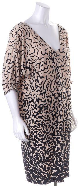 TIBI Beige Black Abstract Printed 3/4 Blouson Sleeve V-Neck Shift Dress