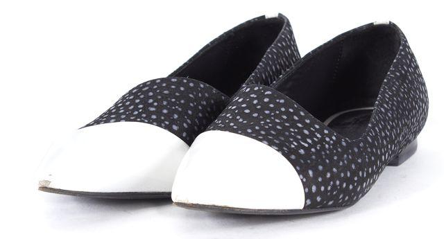 TIBI Black White Textured Leather Patent Cap Toe Flats