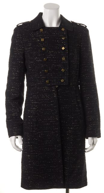 TIBI Black Gold Tweed Double Breasted Military Style Long Coat Jacket