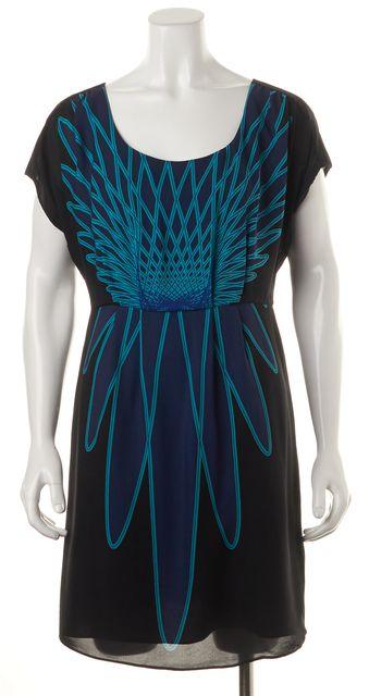 TIBI Black Blue Abstract Printed Silk Pleated Blouson Dress