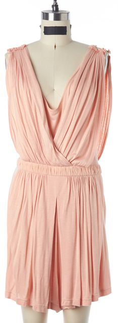 TIBI Pink Jersey Ruched Silk Waist Band Sleeveless Pleated Wrap Romper