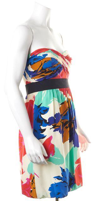TIBI Multi-color Floral Strapless Above Knee Silk Fit & Flare Dress