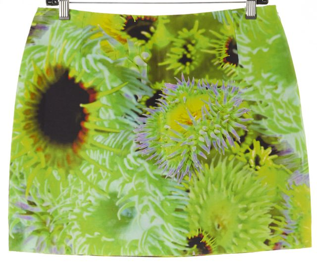 TIBI Green Yellow Purple Floral Silk Mini Skirt