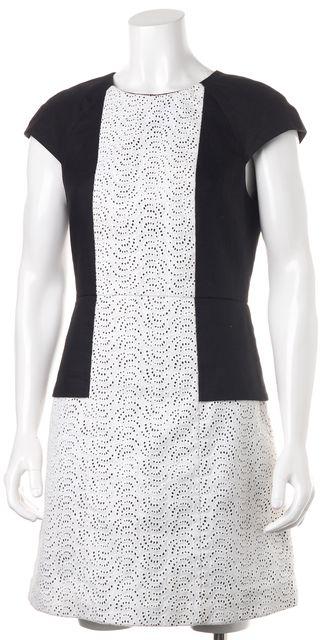 TIBI Black White Lace Linen Sheath Dress