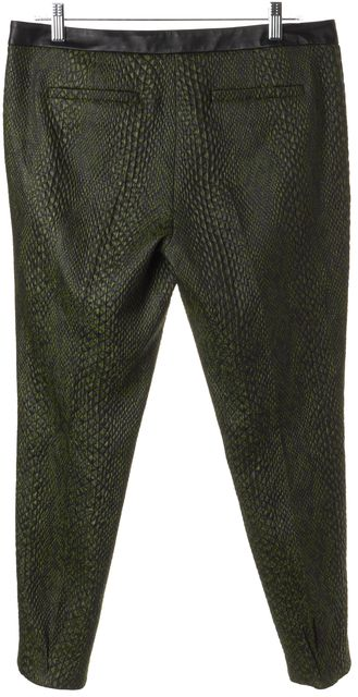 TIBI Green Leather Waist Mid-Rise Casual Pants