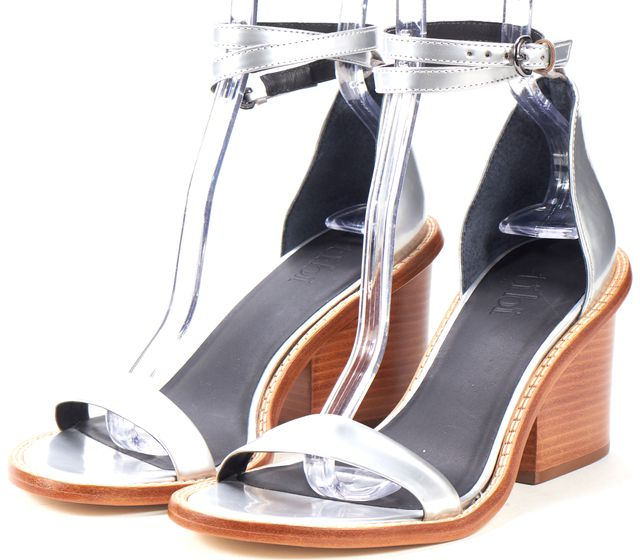TIBI Silver Leather Block Heeled Sandals