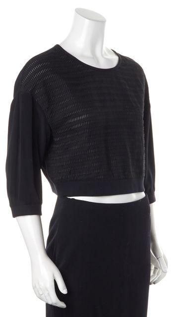 TIBI Black Long Sleeved Textured Top