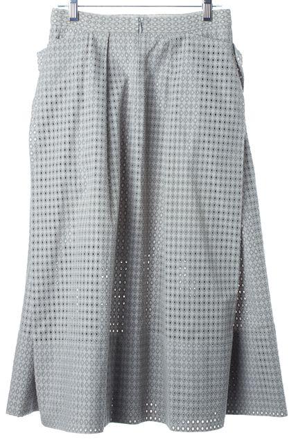 TIBI Light Gray Eyelet Wrap Effect Full Skirt