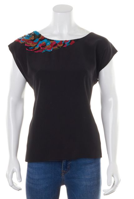 TIBI Black Blue Pink Sequin Embellished Silk Cutout Back Blouse Top