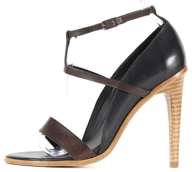TIBI Black Mahogany Leather Single Band T-Strap Ankle Sandal Heels