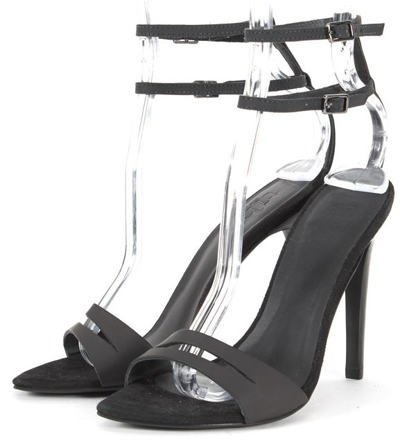 TIBI Black Rubber Suede Trim Mia Sandal Heels