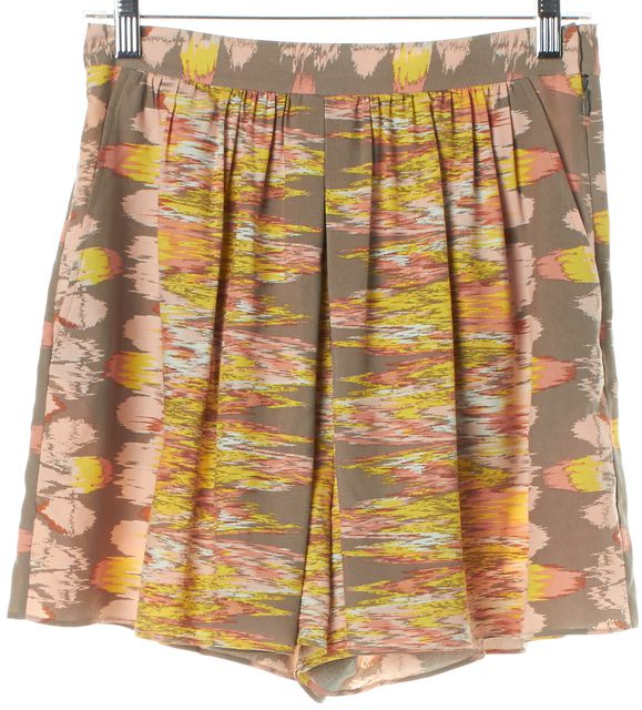 TIBI Yellow Gray Pink Abstract Silk Shorts