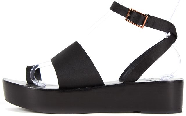 TIBI Black Satin Janie Flatforms Ankle Buckle Platforms Sandals