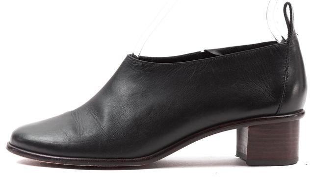 TIBI Black Solid Leather Low Ankle Bootie Stacked Heel Loafers