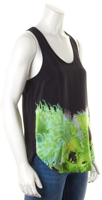 TIBI Black Green Floral Silk Sleeveless Tank Top