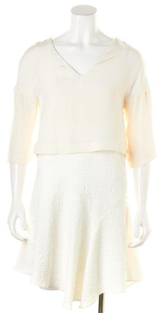 TIBI White Lace Faux Layered Above Knee Sheath Dress