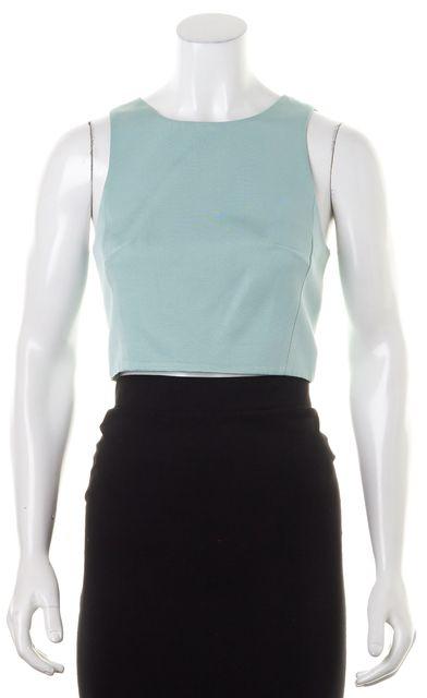 TIBI Light Mint Green Cotton Sleeveless Fit Crop Top