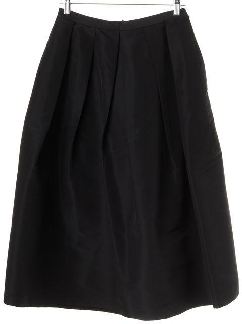 TIBI Black Silk Pleated Full Skirt