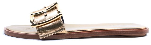 TIBI Gold Leather Frida Flat Slip-On Sandals