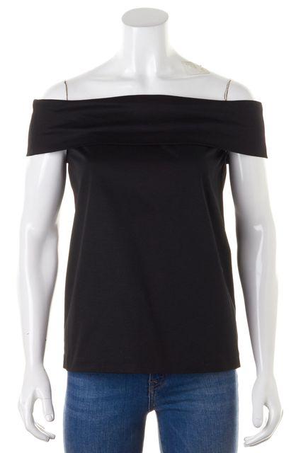 TIBI Black Cotton Off-Shoulder Blouse Top