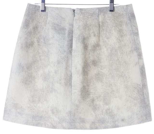 TIBI Ivory Gray Abstract Virgin Wool Buckled Above Knee A-Line Skirt