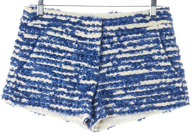 TIBI Blue White Chenille Tweed Short Shorts
