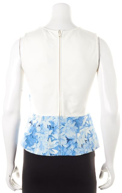 TIBI Blue White Floral Silk Sleeveless Peplum Blouse Top