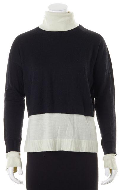 TIBI Black Ivory Color Block Wool Layered Turtleneck Sweater