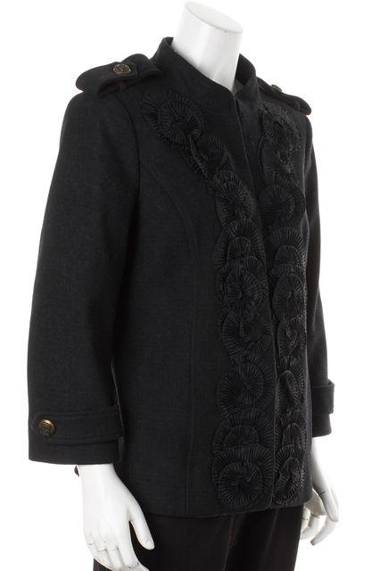 TIBI Navy Blue Fan Embroidered Wool Basic Hook & Eye Coat
