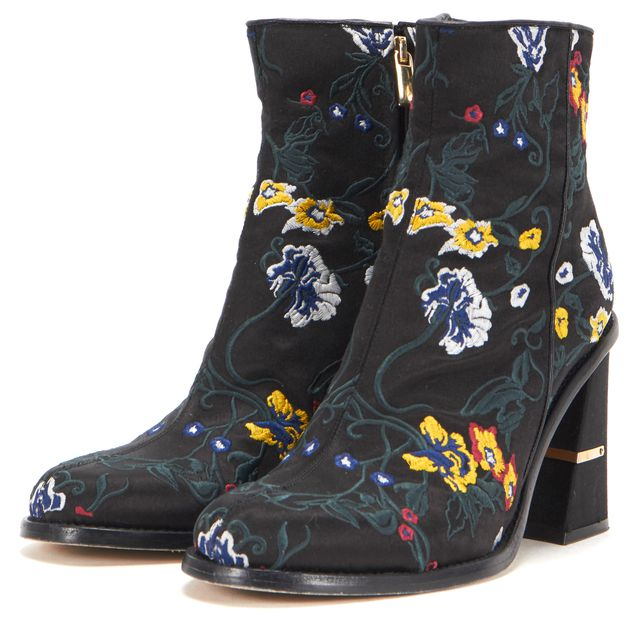 TIBI Black Floral Embroidered Satin Nora Heeled Ankle Boots