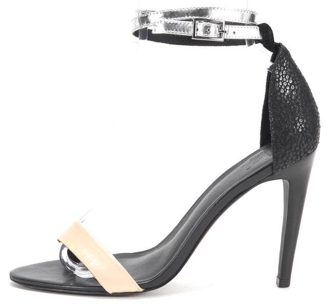 TIBI Black Beige Silver Leather Ankle Strap Sandal Heels