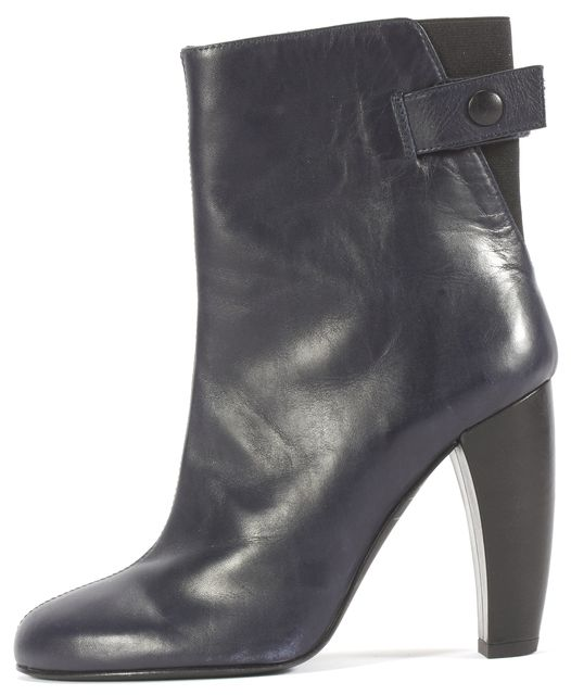 TIBI Blue Black Leather Heeled Bootie Boots