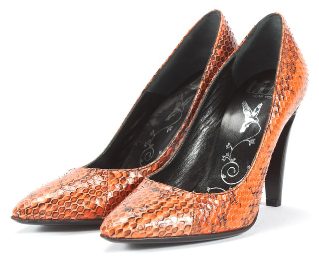 TIBI Orange Black Animal Print Snakeskin Leather Pump Heels