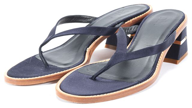 TIBI Navy Blue Thin Strap Block Heel Flop-flop Sandals