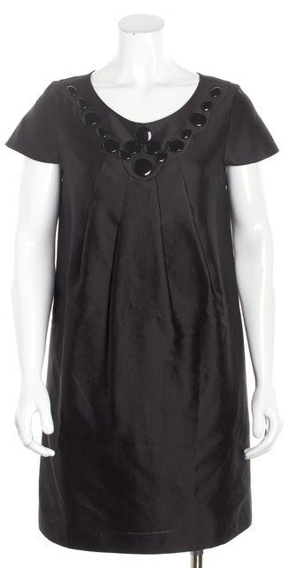 TIBI Black Front Collar Embellished Shift Dress