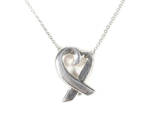 TIFFANY & CO. 925 Sterling Silver Paloma Picasso Loving Heart Pendant Necklace
