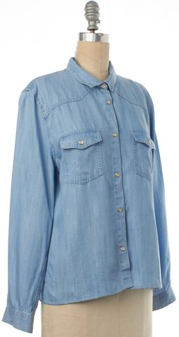 THE KOOPLES Light Blue Chambray Denim Western Button Down Top