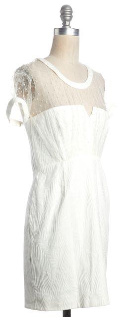 THE KOOPLES White Lace Trim Short Sleeve Mini Sheath Dress
