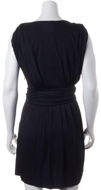 THE KOOPLES Black Shiny Smooth Jersey Draped Sheath Dress