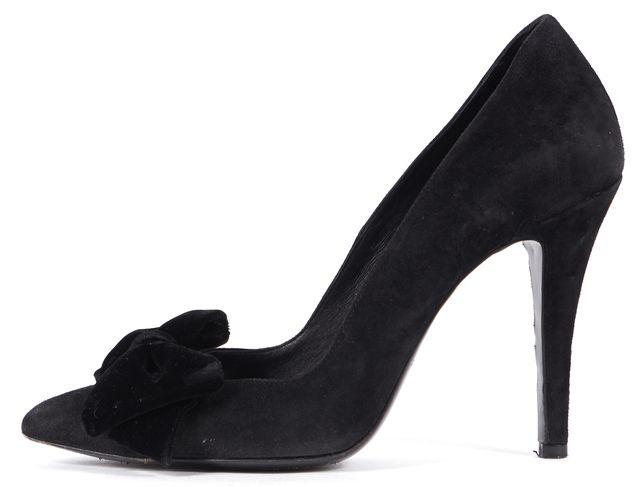THE KOOPLES Black Suede Velvet Bow Embellished Pointed Toe Pumps