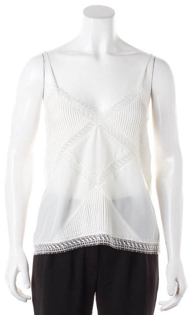THE KOOPLES White Silk Lace Trim Spaghetti. Strap Cami Top