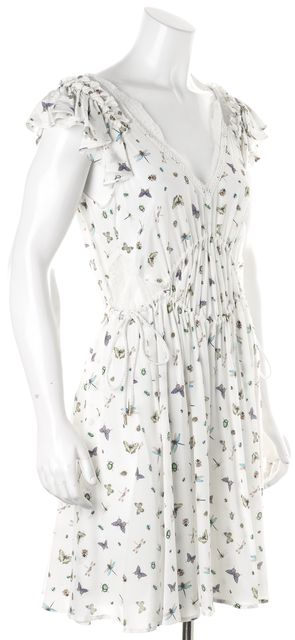 THE KOOPLES White Butterfly Silk Poetic Fly Blouson Dress